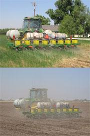 Conservation tillage (top) vs. standard cultivation.