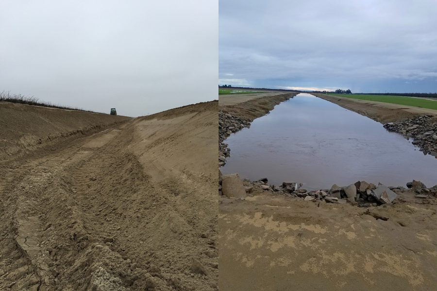 Left: Liberty Canal construction in 2015. Left: Liberty Canal supplies floodwater from the nearby Kings River to the basin. Photo by Scott Sills.