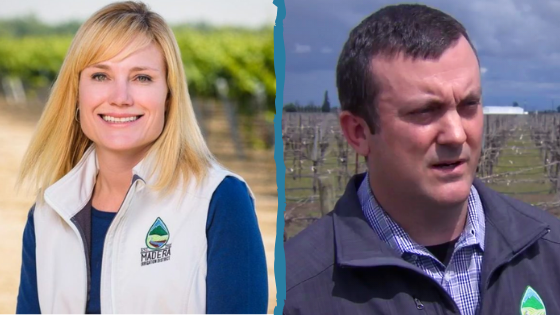 A side-by-side view of two headshots: Dina Nolan, a blonde, white woman in a white vest with the Madera Irrigation District logo (left), and Thomas Greci, a brunette, white man in a grey vest with the Madera Irrigation Logo (right).